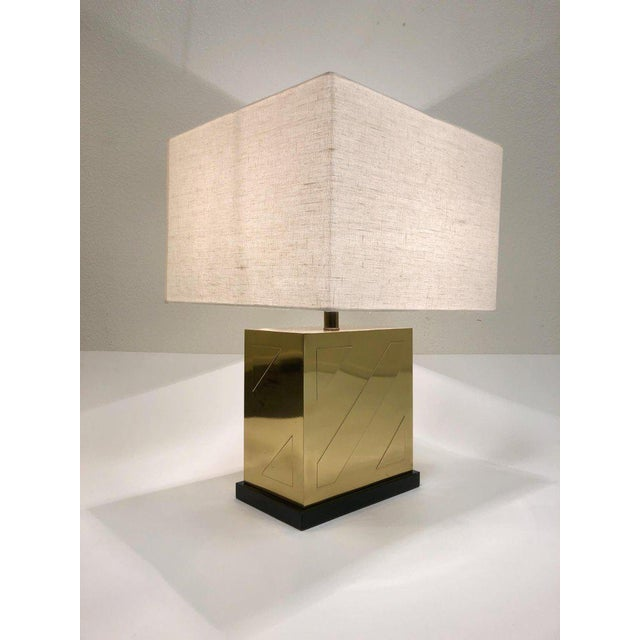 Brass Chapman Polish Brass and Black Lacquer Table Lamps - a Pair For Sale - Image 7 of 11