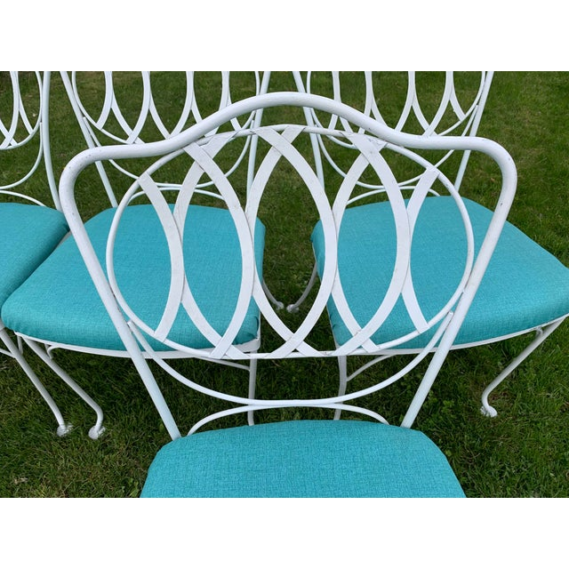 Mid 20th Century Woodard Quality Iron Patio Dining Chairs With Turquoise Upholstered Seats - Set of 6 For Sale - Image 5 of 7