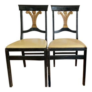 Pair, Mid Century, Folding Neoclassical Style Chairs For Sale