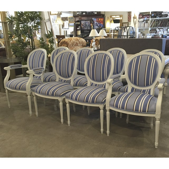 Blue & White Striped Cameo Chairs - Set of 8 - Image 4 of 10