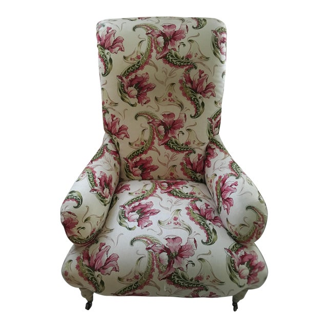 Floral Linen Armchair - Image 1 of 7