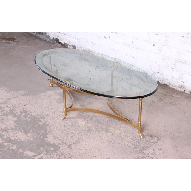 1960s Labarge Mid-Century Hollywood Regency Brass and Glass Hooved Feet Coffee Table For Sale - Image 5 of 9