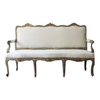 18th C Italian Louis XV Painted and Gilt Settee For Sale