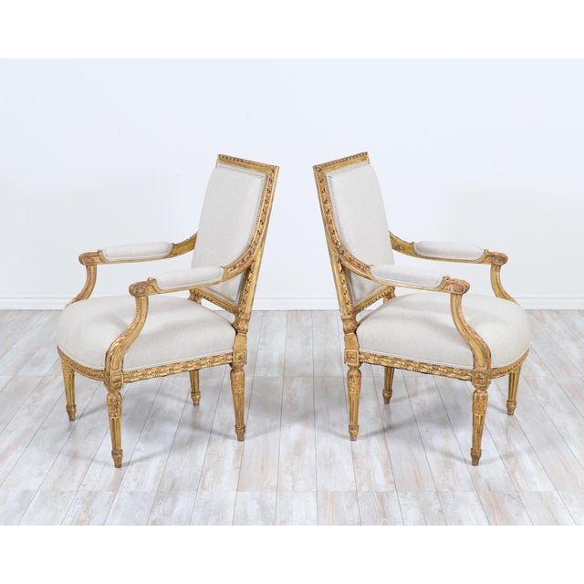 French French Antique Louis XVI Giltwood Arm Chairs-A Pair For Sale - Image 3 of 12