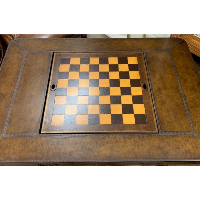 Traditional Maitland-Smith Leather Game Table For Sale - Image 3 of 10