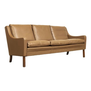 Vintage Mid Century Danish Modern Brown Leather Three-Seat Sofa For Sale