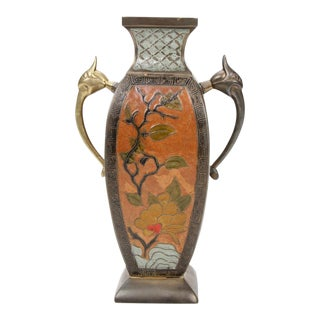 Mid 20th-C. Bronze Champleve Enameled Urn For Sale