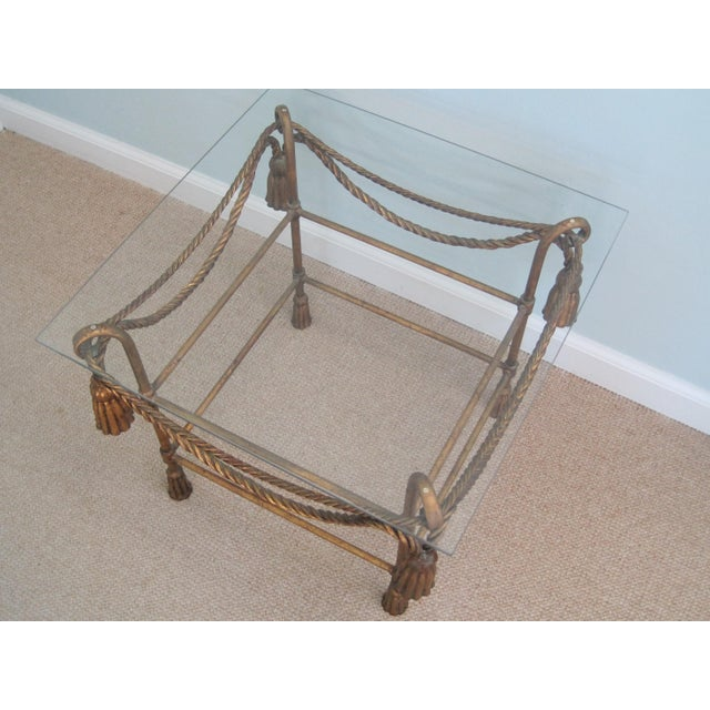 Cast Iron Mid-Century Italian Hollywood Regency Table With Gilt Cast Metal Rope Tassels Base Only For Sale - Image 7 of 9