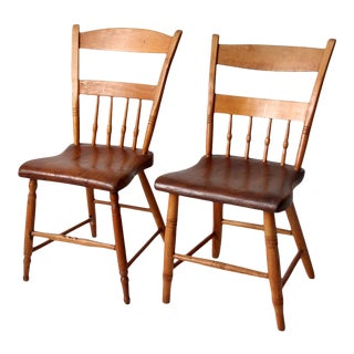Antique Plank Seat Chairs - a Pair For Sale