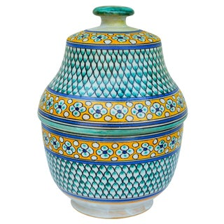 Moroccan Polychrome Ceramic Lidded Bowl For Sale
