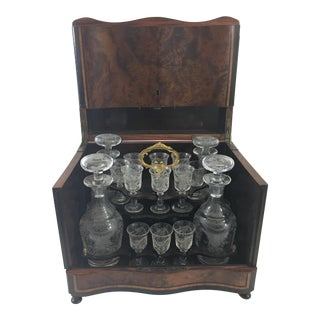 Napoleon III Liquor Cabinet With Crystal Decanters and Cups