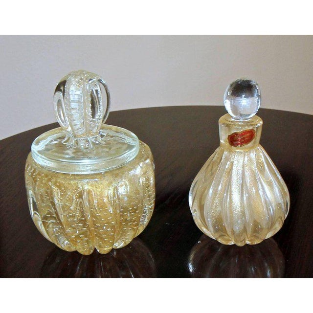Mid-Century Modern Murano Gold Controlled Bubbles Perfume Bottle & Lidded Powder Jar For Sale - Image 3 of 10