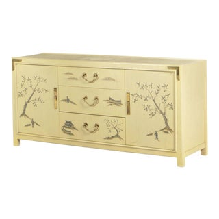 Romweber Asian Inspired Brass-Mounted Painted & Lacquered Sideboard For Sale