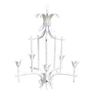 Palm Beach Regency Pagoda Faux Bamboo White Chandelier For Sale