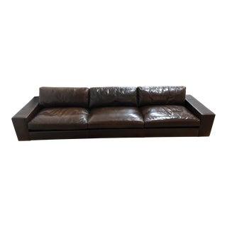 Custom Leather Three on Three Sofa For Sale