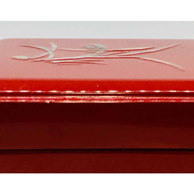 Vintage Red Japanese Lacquered & Mother of Pearl Box For Sale - Image 12 of 13