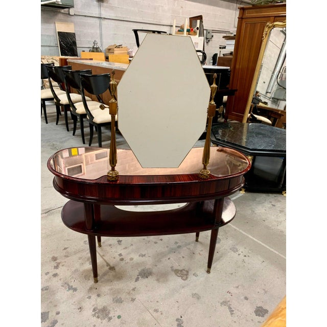 1940s Vintage French Art Deco Macassar Vanity For Sale - Image 12 of 13