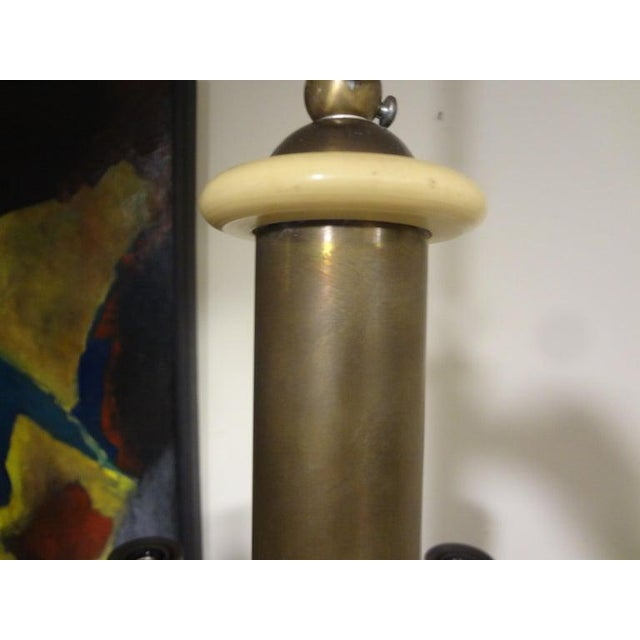 Italian Brutalist Brass and Bakelite Chandelier by Nucleo Forme For Sale In Houston - Image 6 of 13