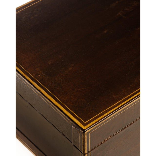 2020s Lawrence & Scott Regalia Leather Box in Mahogany With Brass Stand as Side Table For Sale - Image 5 of 11