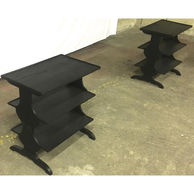 1920s Pair of Rare J.M.Frank Attributed Black 3 Tier Side Tables For Sale - Image 5 of 7