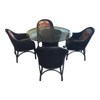 Rattan Table & 4 Chairs Glass Top 1960's For Sale