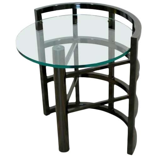 Contemporary Modern Brueton Round Gunmetal Glass Side End Table 80s Asymmetrical For Sale