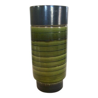 1960's Mid-Century German Green Black Pottery Vase For Sale