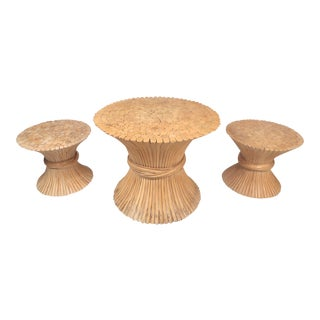 Midcentury Bamboo Sheaf Tables by McGuire, Set of 3 For Sale