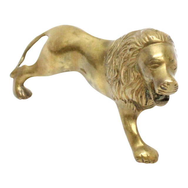 Vintage Mid-Century Brass Lion For Sale