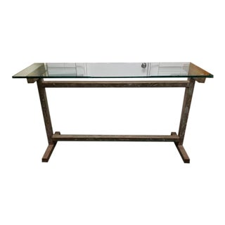 Industrial/Modern Glass Top Steel Truss Base Table For Sale