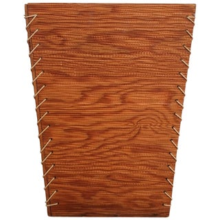 Rope and Wood Waste Basket, 1950s For Sale