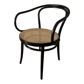 Black Era Round Armchair With Cane Seat For Sale