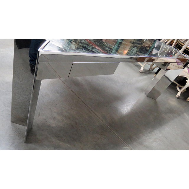 Marble Top Chrome Desk Attr. Pace Collection For Sale - Image 9 of 11