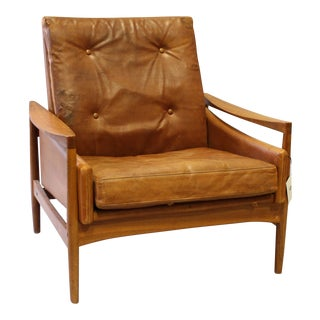 Danish Mid Century Modern Leather Arm Chair For Sale