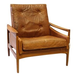 Danish Modern Leather Arm Chair