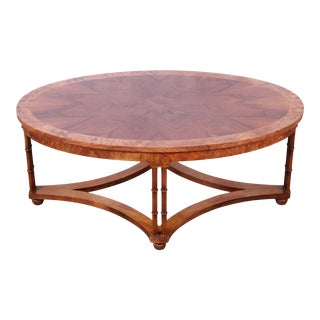 Baker Furniture Walnut, Burl, and Faux Bamboo Coffee Table, Newly Restored For Sale