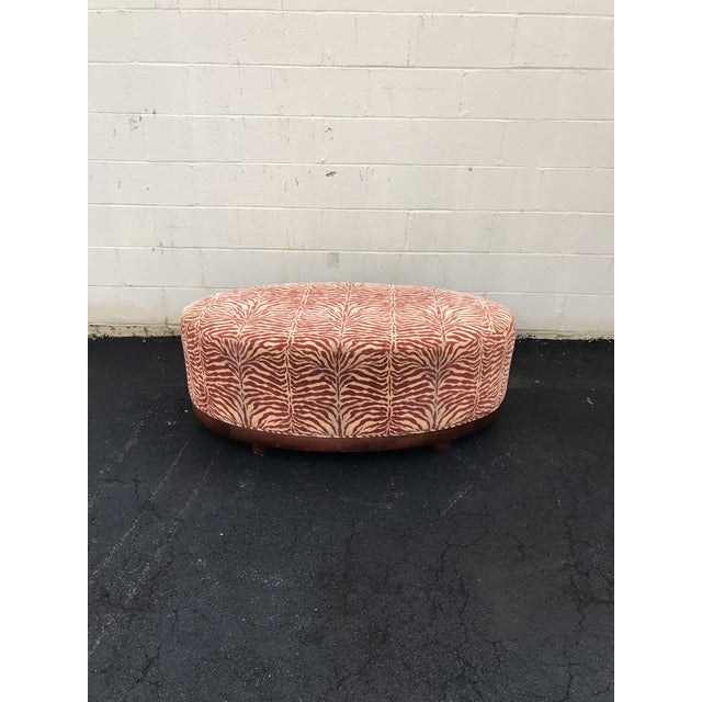 Mid Century Modern Red Zebra Print Ottoman For Sale - Image 4 of 8