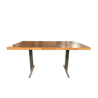1970s Mid-Century Modern Oak + Chrome Dining Table With Removable Leaf For Sale