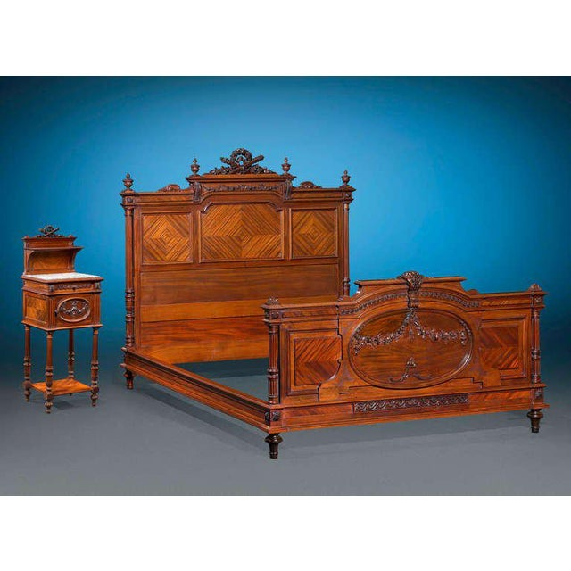 This exceptionally rare double bed by Mercier Frères is beautifully carved in the elegant Louis XVI style. Crafted from...