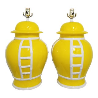 1960s Large Hollywood Regency Italian Chinoserie Ceramic Ginger Jar Lamps - a Pair For Sale