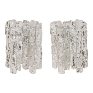 """1960s Petite """"Sierra"""" Ice Glass Sconces with Nickel Tone Backplate by Kalmar Franken KG - a Pair For Sale"""