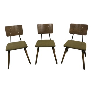 Vintage Mid Century Oak Chairs- Set of 3 For Sale