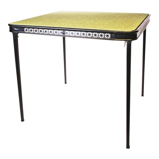 Mid Century Modern GreenBlack Folding Card Table Chairish - Mid century modern card table