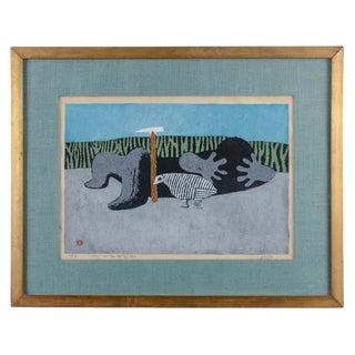 1956 Vintage Azechi Umetaro Woodblock Print For Sale