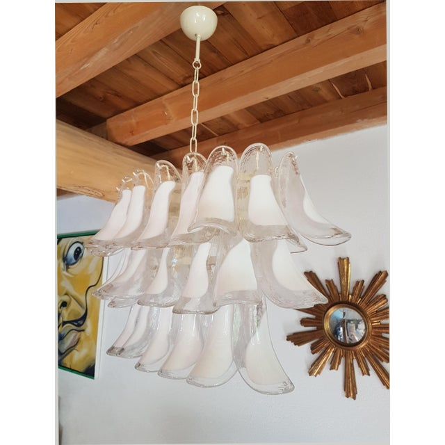 Mazzega Mid-Century Modern White Murano Glass Oval Chandelier -2 Available For Sale - Image 6 of 13