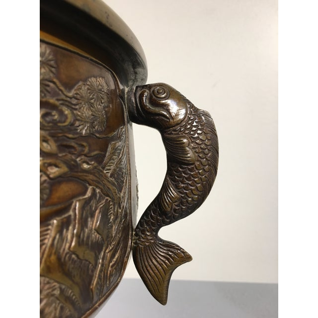 Japanese Cast Bronze Hibachi Jardiniere, Meiji Period For Sale - Image 10 of 11