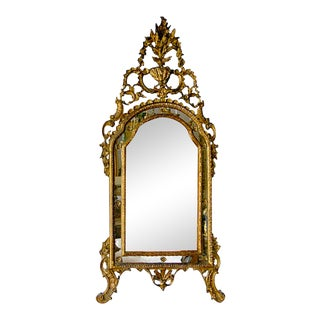 Antique Northern Italian Rococo Giltwood Mirror For Sale