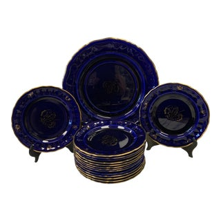 1950s Vibrant Cobalt & Gilt Rorstrand Porcelain Dinnerware Set- 15 Pieces For Sale