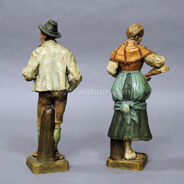 White Decorative Folksy Couple Stoneware Figures For Sale - Image 8 of 10