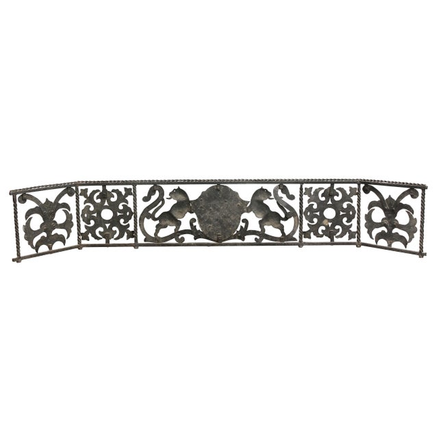 Metal Italian Wrought Iron Fire Fender For Sale - Image 7 of 8